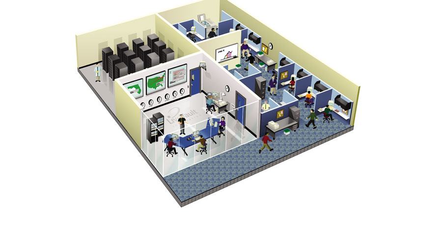Office cut-away view illustration