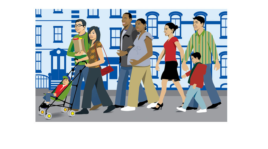 Ethnic Diversity Illustration of People Walking